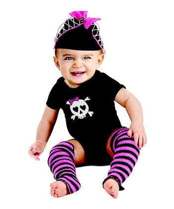 Black & Pink Skull Bodysuit Set - Infant