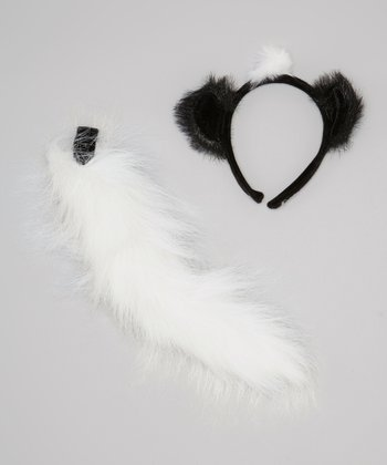 Black & White Skunk Headband & Tail