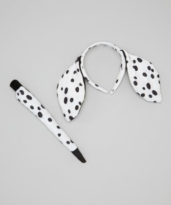 White Dalmatian Ear Headband & Tail