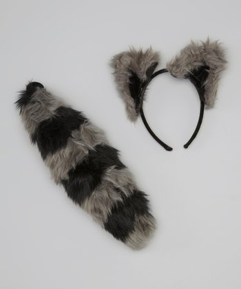 Gray Raccoon Ear Headband & Tail