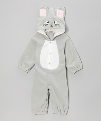 Gray Mouse Snap Hooded Jumpsuit - Infant & Toddler