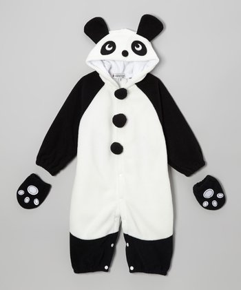 White & Black Panda Snap Hooded Jumpsuit & Gloves - Infant & Toddler