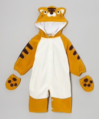 Orange Tiger Snap Hooded Jumpsuit & Gloves - Infant & Toddler