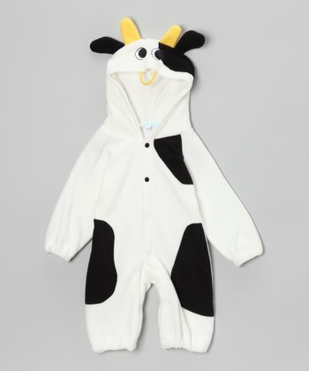 White & Black Cow Snap Hooded Jumpsuit - Infant & Toddler