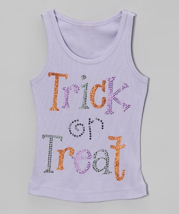 Lavender Rhinestone 'Trick or Treat' Tank - Toddler & Girls