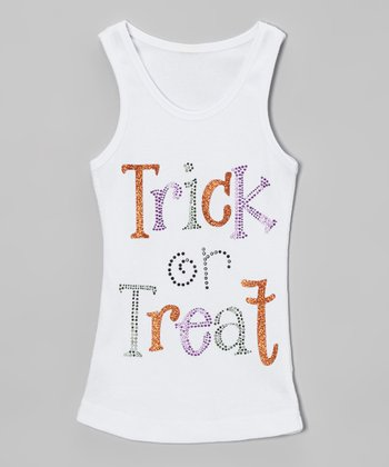 White Rhinestone 'Trick or Treat' Tank - Toddler & Girls