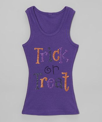 Purple Rhinestone 'Trick or Treat' Tank - Toddler & Girls
