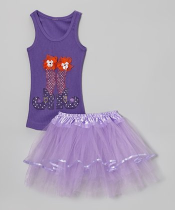 Purple Witch Legs Tank & Tutu - Toddler & Girls