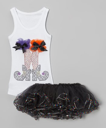 White Witch Legs Tank & Tutu - Toddler & Girls