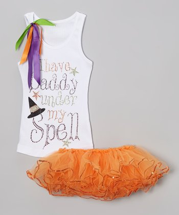 White Glitter 'Daddy' Tank & Tutu - Toddler & Girls