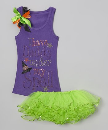 Purple Glitter 'Daddy' Tank & Tutu - Toddler & Girls
