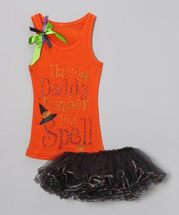 Orange Glitter 'Daddy' Tank & Tutu - Toddler & Girls