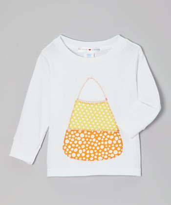 Orange & White Candy Corn Long-Sleeve Tee - Toddler & Kids
