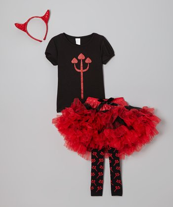 Black & Red Devil Tutu Set - Toddler & Girls