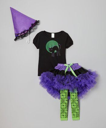 Black & Purple Witch Tutu Set - Toddler & Girls