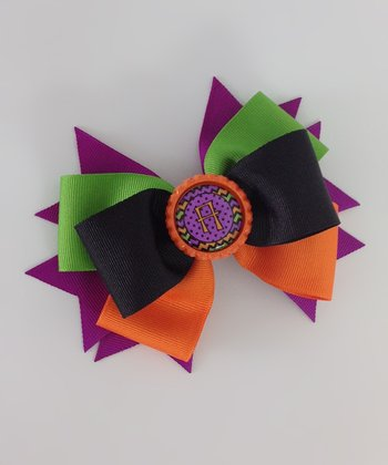 Purple & Orange Zigzag Initial Bow Clip