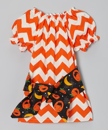 Orange Zigzag Pumpkin Dress - Infant & Toddler