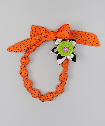 Orange & Black Flower Necklace