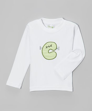 White & Green Franken Initial Tee - Infant, Toddler & Boys