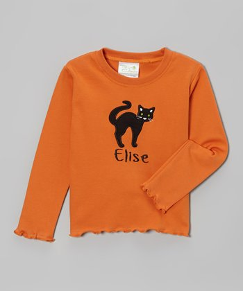 Orange & Black Cat Personalized Tee - Infant, Toddler & Girls