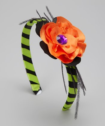 Black & Green Scaredy Cat Feather Headband