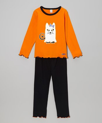 Orange Ghost Kitty Top & Black 'Boo' Pants - Infant, Toddler & Kids