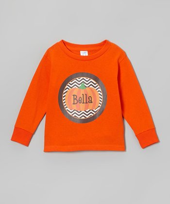 Orange Pumpkin Zigzag Personalized Tee - Toddler & Kids