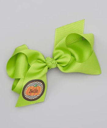 Lime Green Pumpkin Zigzag Personalized Bow Clip