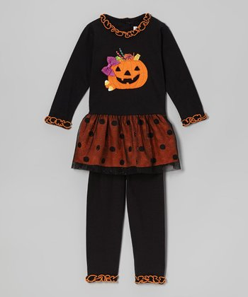 Black & Orange Pumpkin Tunic & Leggings - Toddler & Girls