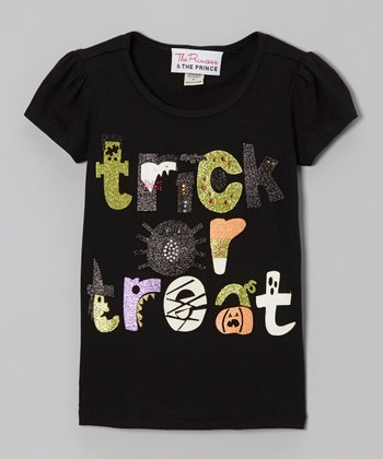 Black Sparkle 'Trick or Treat' Tee - Infant, Toddler & Girls