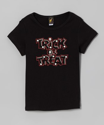 Black Rhinestone 'Trick Or Treat' Tee - Girls