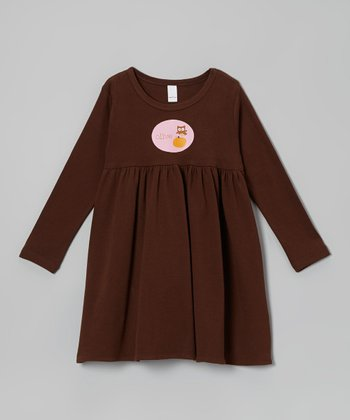 Brown Personalized Owl Long Sleeve Dress - Toddler & Kids