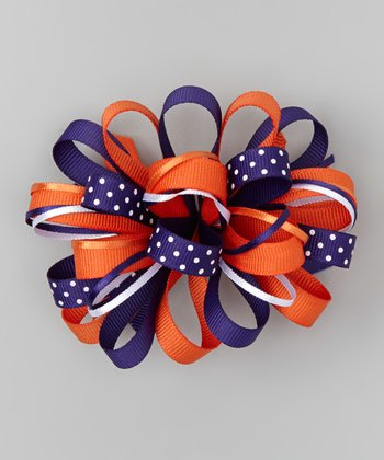 Purple & Orange Loopy Bow Clip