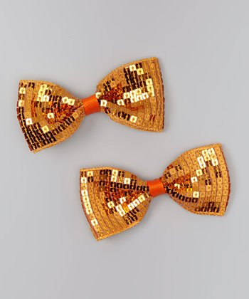 Orange Sequin Bow Clip Set