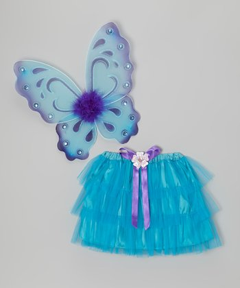 Turquoise Tiered Tutu & Butterfly Wings