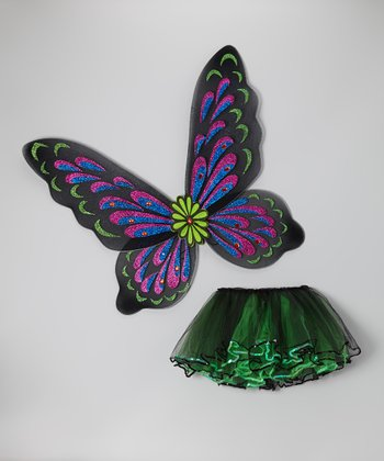 Green & Black Fairy Wing & Sequin Tutu - Girls