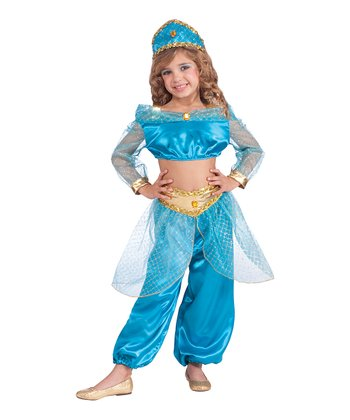 Turquoise Arabian Princess Dress-Up Set - Girls