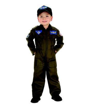 Olive Air Force Pilot Dress-Up Set - Boys