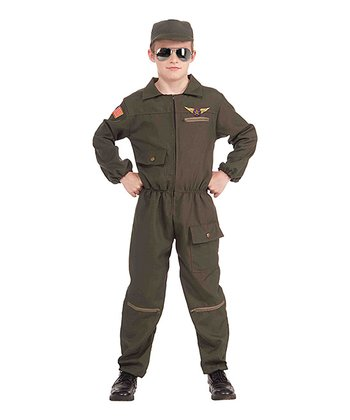 Olive Fighter Jet Pilot Dress-Up Set - Boys
