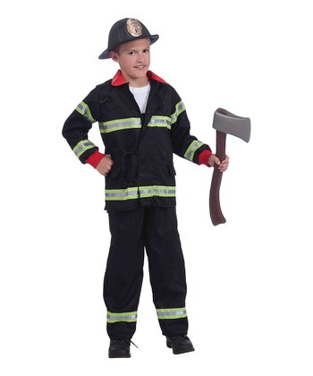 Black & Red Firefighter Dress-Up Outfit - Boys
