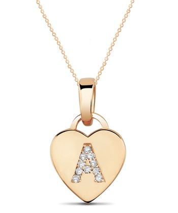 Rose Gold Rhinestone Initial Heart Pendant Necklace
