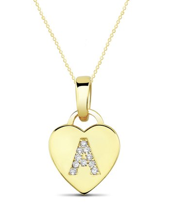Yellow Gold Rhinestone Initial Heart Pendant Necklace