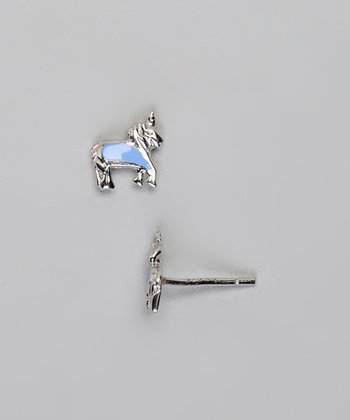Sterling Silver & Blue Unicorn Earrings