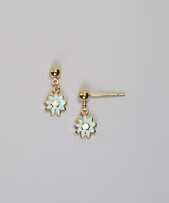 Gold & Blue Flower Earrings