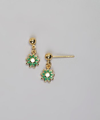 Gold & Green Flower Earrings