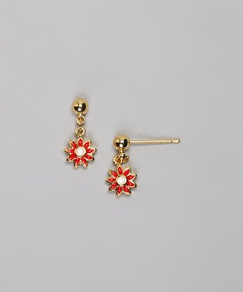 Gold & Red Flower Earrings