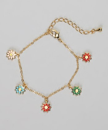 Gold & Blue Flower Charm Bracelet