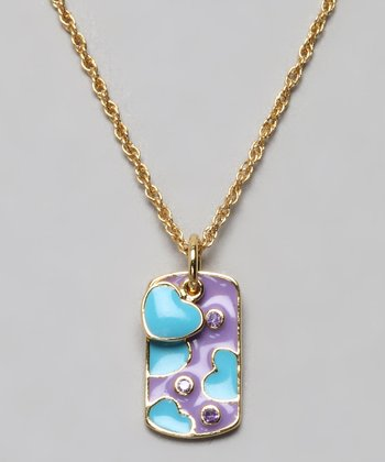 Gold & Blue Heart Dog Tag Necklace
