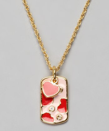 Gold & Pink Heart Dog Tag Necklace