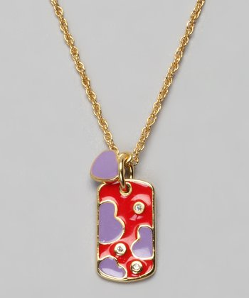 Gold & Red Heart Dog Tag Necklace